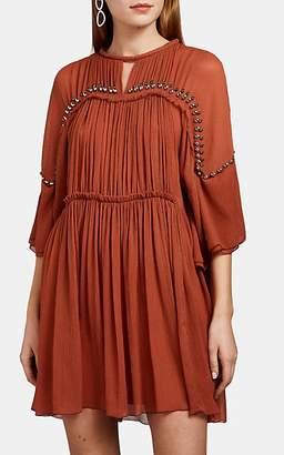 Chloé Women's Silk Plissé Minidress - Orange