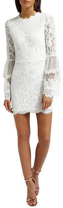Missguided Lace High Neck Bell-Sleeve Dress