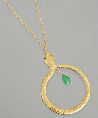 Kevia gold snake hoop pendant necklace