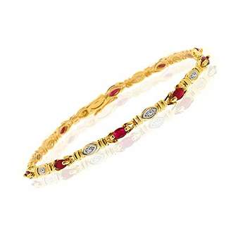 Rubie's Costume Co Ivy Gems 9ct Yellow Gold Marquise Cut Red and Diamond Link Fine Bracelet 18cm / 7 inches Long