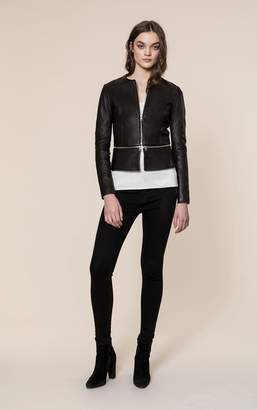 Soia & Kyo HEIDI slim fit leather jacket with removable peplum
