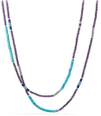 David Yurman Tweejoux Bead Necklace in Amethyst, Turquoise & Lapis Lazuli