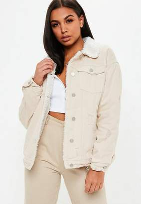 Missguided Cream Borg Lined Denim Jacket