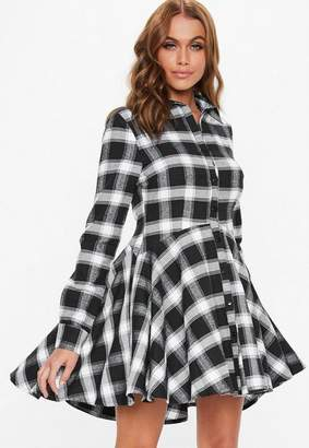 Missguided Black Plaid Long Sleeve Skater Dress