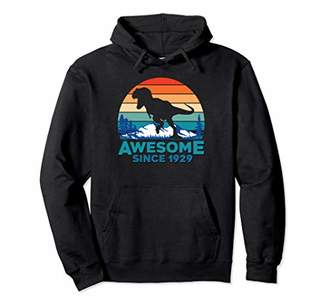 Awesome Since 1929 Gift 90 Years Old Dinosaur Men Women Pullover Hoodie
