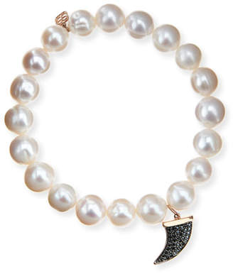 Sydney Evan Potato Pearl White Medium Black Diamond Horn Bracelet