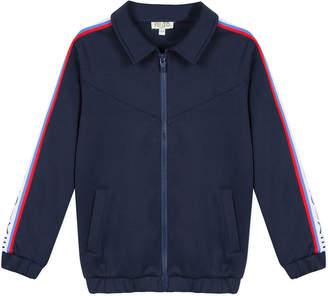 Kenzo Zip-Up Fleece Cardigan w/ Logo Taping Trim, Size 8-12