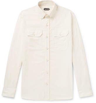 Tom Ford Slim-fit Button-down Collar Cotton-corduroy Shirt - Neutral