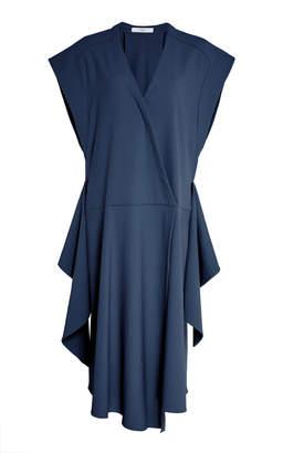 Tibi Chalky Draped Crepe Wrap Dress