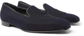 Kingsman + George Cleverley Windsor Leather-Trimmed Embroidered Cashmere Slippers
