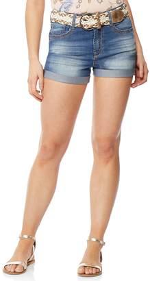 Juniors' Wallflower Cuffed Jean Shorts
