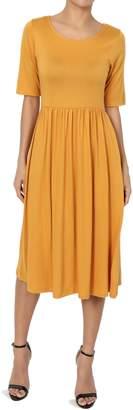 Hunter TheMogan Women's Half Sleeve Empire Waist Fit & Flare Pocket Dress Titanium 1XL