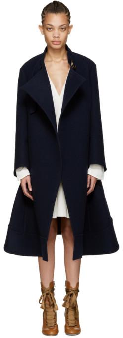 Chloé Chloé Navy Oversized Wool Coat