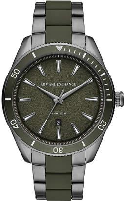 Armani Exchange Men Enzo Gunmetal Stainless Steel & Green Silicone Bracelet Watch 46mm