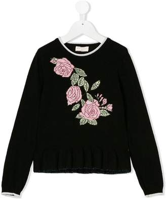 MonnaLisa rose embellished jumper