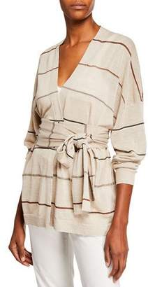 Brunello Cucinelli Striped Linen Wrap-Waist Cardigan