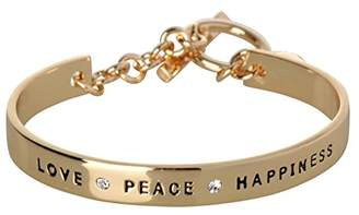 BCBGeneration BCBG Generation Rose Gold Crystal Love Peace Happiness Cuff Bracelet