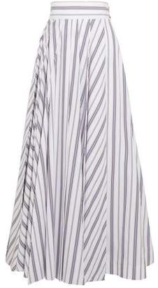 Awake Pleated Striped Cotton-Poplin Maxi Skirt
