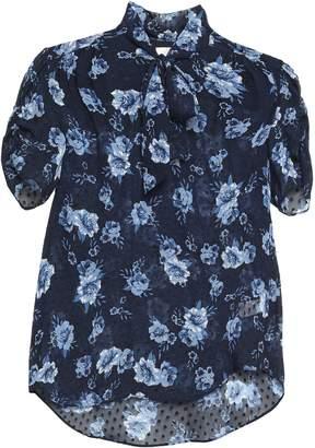 Kate Spade Pussy-bow Floral-print Fil Coupe Silk-chiffon Blouse