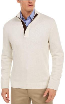 Tasso Elba Men Supima Cotton Textured 1/4-Zip Sweater