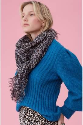 Rebecca Taylor Leopard Print Wool Scarf