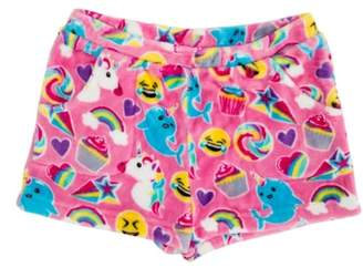 Candy Pink Emoji Fleece Pajama Shorts