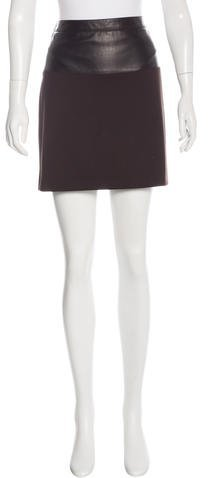 Andrew Gn Andrew Gn Leather-Accented Mini Skirt