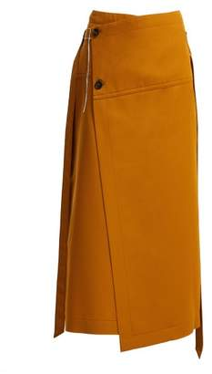 Marni Tie Waist Wool Wrap Skirt - Womens - Dark Orange