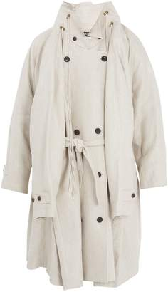 Y/Project Stand-collar linen trench coat