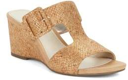 Anne Klein Nilli Snake-Embossed Cork Wedge Sandals