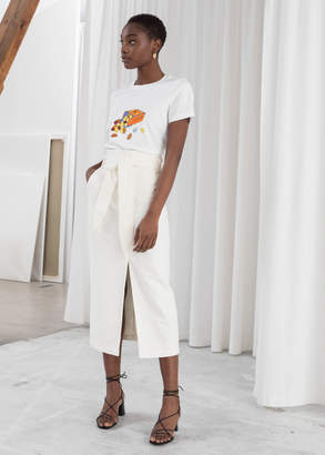 And other stories Linen Blend Paperbag Waist Midi Skirt