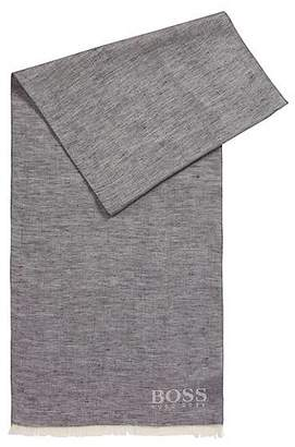 HUGO BOSS Jacquard-logo scarf in cotton with linen