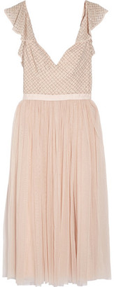 Needle & Thread - Swan Beaded Georgette Dress - Blush $280 thestylecure.com