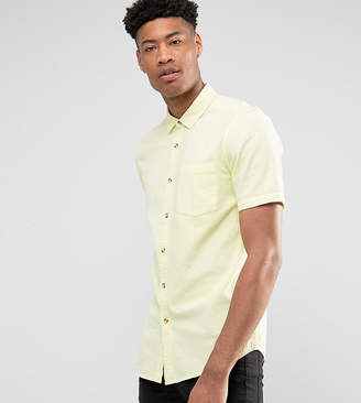 Asos DESIGN Tall regular fit textured shirt in yellow