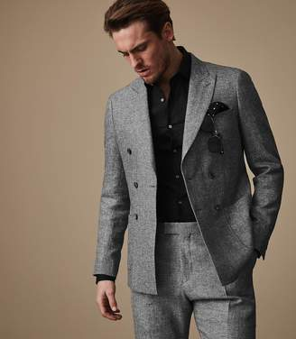 Reiss TRIBE B Double Breasted Linen Blazer Grey