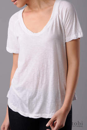 James Perse Short Sleeve Sheer Jersey Scoop Neck Top