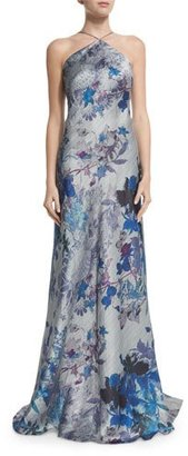 Theia Sleeveless Floral-Print Halter A-line Gown $895 thestylecure.com