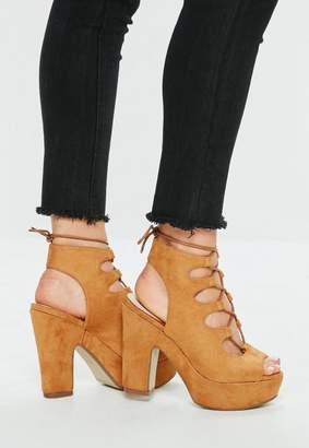 Missguided Tan Gillie Lace Up Platform Sandals