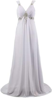 Kmformals Women's Sexy V Neck Chiffon Wedding Dress Bride Gown