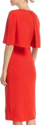 Oscar de la Renta Trompe L'oeil Short-Sleeve Popover Sheath Dress