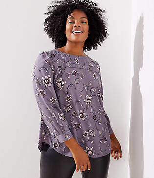 LOFT Plus Lilac Garden Pleat Yoke Blouse