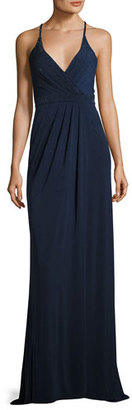 La Femme Sleeveless Beaded Cross-Back Gown, Navy $330 thestylecure.com