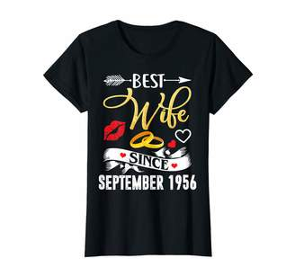 Bny Wedding Anniversary Shirts Womens 63th Wedding Anniversary Shirts Best Wife Since 1956 Shirt