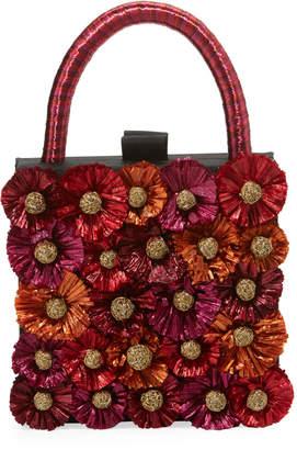 Sanayi313 Flora Raffia Box Clutch Bag