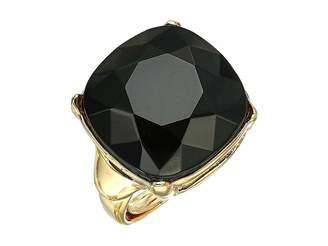 Kenneth Jay Lane 18 mm Gold/Jet Square Stone Adjustable Ring