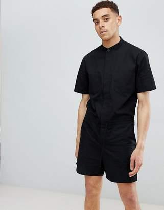 Asos DESIGN Slim Short Boilersuit In Black