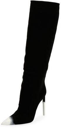 TOM FORD Knee-High Canvas 105mm Boot, Dark Blue