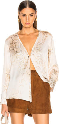 Smythe Collarless Single Button Blouse in Faded Python Print | FWRD