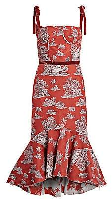 Johanna Ortiz Women's Printed High-Low Midi Dress