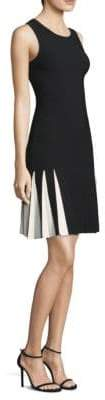 Milly Pleated Contrast Drop-Waist Dress